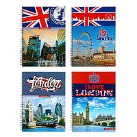 Тетрадь (скетчбук) А4, 100 листов на гребне Great Britain, твёрдая обложка, матовая ламинация, выборочный лак,