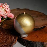 Свеча интерьерная шар 'Золото и серебро', диам. 10 см.