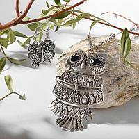 Гарнитур ассорти серьги, кулон 'Сова', цвет чернёное серебро, L60
