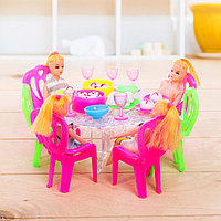Мебель для кукол с куклами и аксессуарами, цвета МИКС