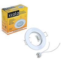 Светильник встраиваемый Ecola, DL90, GU5.3, MR16, 30x80 мм, плоский, белый