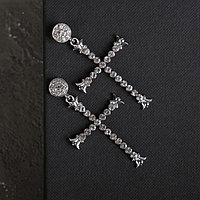Серьги висячие со стразами 'Крестики' грация, цвет белый в серебре