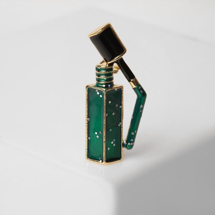 Брошь 'Лак для ногтей' с блёстками, цвет зелёный в чернёном золоте - фото 1
