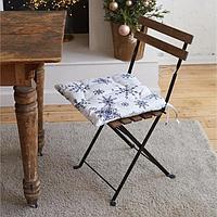 Сидушка на стул 'Синие снежинки' 42х42х5 см, 100 хлопок, 164 г/м2