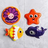 Игрушки для купания 'Морские друзья' (набор 3 шт) + мини-коврик на прсосках