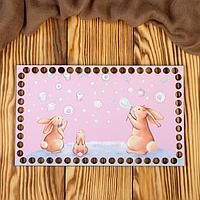 Заготовка для вязания 'Прямоугольник. Зайки на розовом фоне' 25х15 см