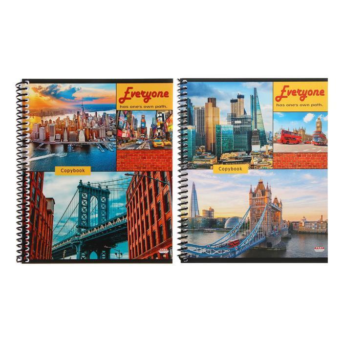 Тетрадь 60 листов в клетку, на гребне 'Мосты и мегаполисы', обложка мелованный картон, блок офсет, МИКС - фото 1