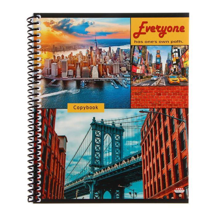 Тетрадь 60 листов в клетку, на гребне 'Мосты и мегаполисы', обложка мелованный картон, блок офсет, МИКС - фото 2