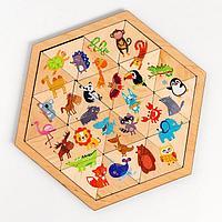 Пазл деревянный 'Весёлый зоопарк' (Занимательные треугольники)