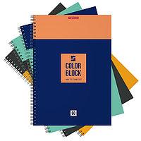 Тетрадь А4 на гребне, 60 листов в клетку ErichKrause Color Block, обложка мелованный картон, МИКС (комплект из