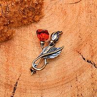 Брошь 'Янтарь' роза с бутоном, цвет коньячный в бронзе
