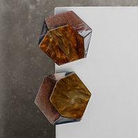 Серьги пластик 'Комильфо', шестигранник, цвет коричневый