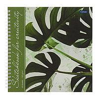 Тетрадь-скетчбук А4, 60 листов на гребне 'Тропические листья', твёрдая обложка, блок 120 г/м, с пошаговыми