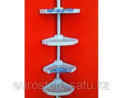 Угловая полка, пластиковая трубка, 4 полки 25*25см, 2 крючка, 2 мыльницы (прозрачно-голубые)