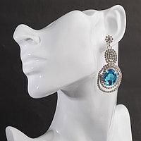 Серьги висячие со стразами 'Небесное сияние', цвет бело-голубой в серебре