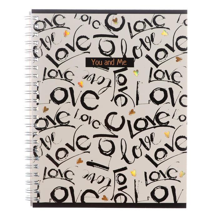 Тетрадь 80 листов в клетку 'Ты и я', обложка мелованный картон, тиснение фольгой, блок офсет, МИКС (комплект - фото 3