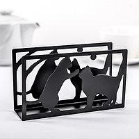 Салфетница 'Кошки', 14x4x8 см, цвет чёрный