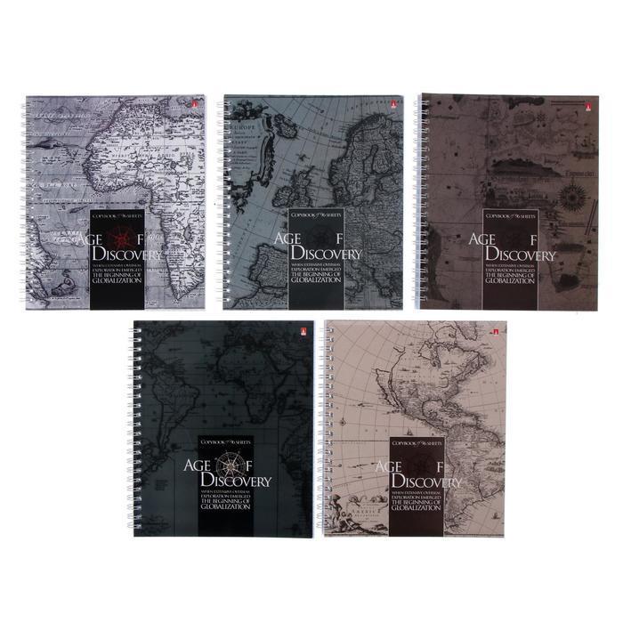 Тетрадь А5+, 96 листов в клетку, на гребне 'Эпоха открытий', обложка мелованный картон, глянцевая ламинация, - фото 1