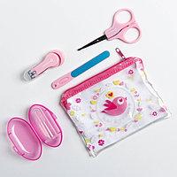 Набор маникюрный детский 'Для Малышки', 4 предмета ножнички, книпсер, пилочка, щётка