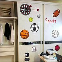 Наклейка пластик интерьерная цветная 'Спортивные атрибуты' 50х70 см
