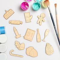 Набор для творчества 'Подстаканник,календарь,желудь'в пакетике (12шт), фигурки 5х4,5см