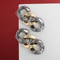 Серьги металл 'Цепь' плоские звенья, цвет серо-золотой