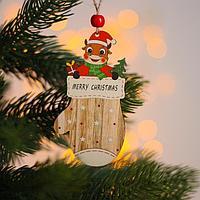 Новогодняя подвеска 'Коровка в варежке' 10х5,5х 0,3 см