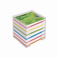 Блок бумаги для записей 'Офис', 9 x 9 x 9 см, 65 г/м2, в пластиковом прозрачном боксе, цветной