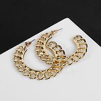 Серьги-кольца 'Цепи' плоские, цвет золото