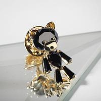 Значок 'Мишка' плюшевый, цвет чёрный в золоте