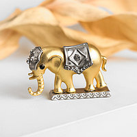 Брошь 'Слон', цвет матовый золото-серебряный