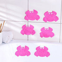 Набор мини-ковриков для ванны Доляна 'Краб', 9x12 см, 6 шт, цвет МИКС