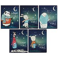 Тетрадь 48 листов в клетку Magic night, обложка мелованный картон, ламинация Soft Touch, фольга, блок 70 г/м2,