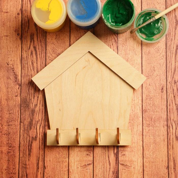 Заготовка для творчества 'Ключница домик', на 4 крючка - фото 1