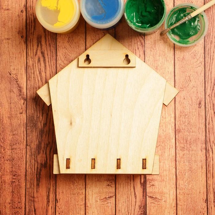 Заготовка для творчества 'Ключница домик', на 4 крючка - фото 3
