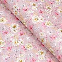 Бумага упаковочная крафт 'Цветы', 50 х 70 см (комплект из 10 шт.)
