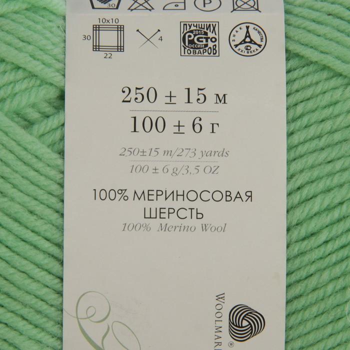 Пряжа 'Элегантная' 100 мериносовая шерсть 250м/100гр (86-Анис) - фото 3