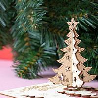 Деревянная открытка 'С новым годом!'