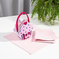 Набор полотенец в корзинке Этель 'Сладкоежка' 30х30см - 2шт, цв.розовый, 100 хл