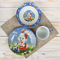 Набор детской посуды Доляна 'Заяц футболист', 3 предмета кружка 230 мл, миска 400 мл, тарелка 18 см
