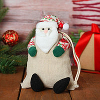 Мешочек для подарков 'Дед Мороз', на завязках, цвета МИКС