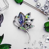 Брошь 'Бабочка' мотылек, цветная в серебре