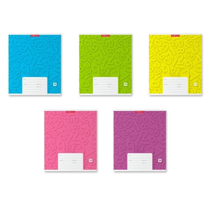 Тетрадь 24 листа в клетку 'Типографика. Цифры', картонная обложка, микс (комплект из 10 шт.) - фото 1