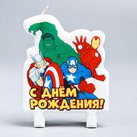 Свеча в торт 'С Днём Рождения!', Мстители Железный человек, Тор, Халк, Капитан Америка, 75 х 100 мм