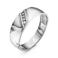 Кольцо 'Обручальное' дорожка, посеребрение с оксидированием, 18 размер