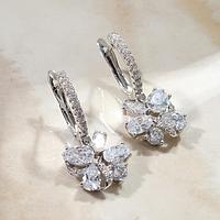 Серьги со стразами 'Мини' кольца с подвесками, цвет белый в серебре