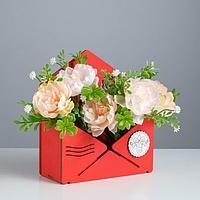 Кашпо деревянное 'Конверт Летний сад', красный, 16x6.8x18.5 см