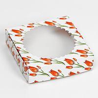 Подарочная коробка сборная с окном ' Тюльпаны ', 11,5 х 11,5 х 3 см (комплект из 5 шт.)