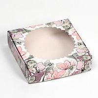 Подарочная коробка сборная с окном ' Весна ', 11,5 х 11,5 х 3 см (комплект из 5 шт.)