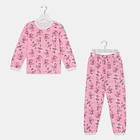 Пижама для девочки НАЧЁС, цвет розовый/рис. девочки, рост 116-122 см